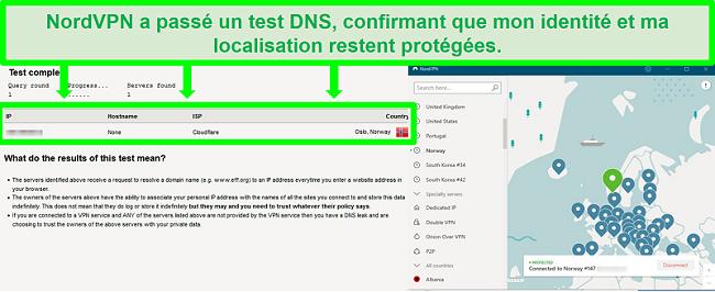 Capture d'écran d'un test de fuite DNS réussi alors que NordVPN est connecté à un serveur en Norvège