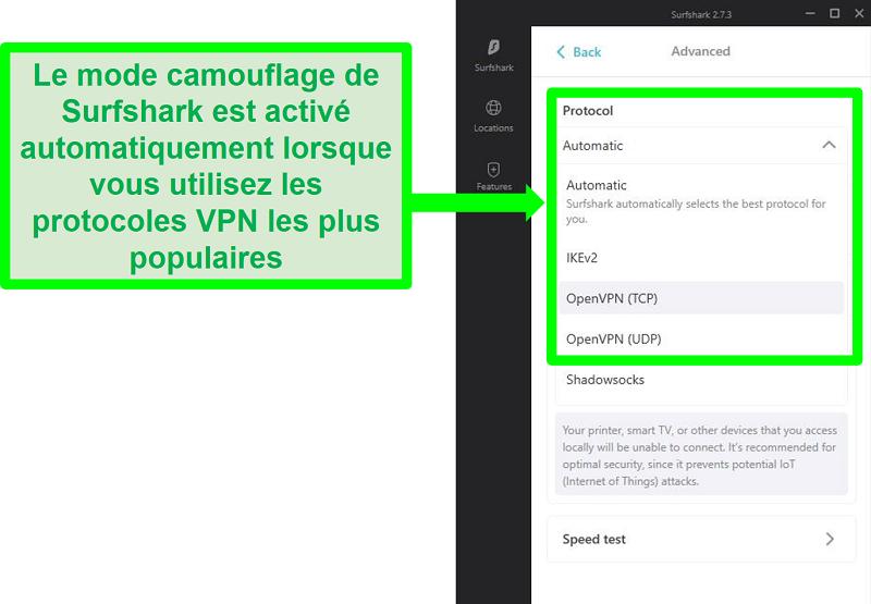 Capture d'écran du menu des paramètres de Surfshark montrant les protocoles VPN qui fonctionnent avec le mode camouflage