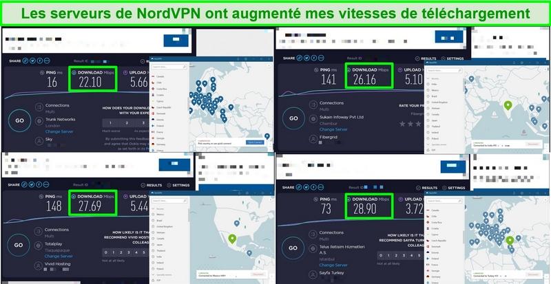 Captures d'écran de 4 tests de vitesse comparant la vitesse du serveur NordVPN à la vitesse du trafic normal