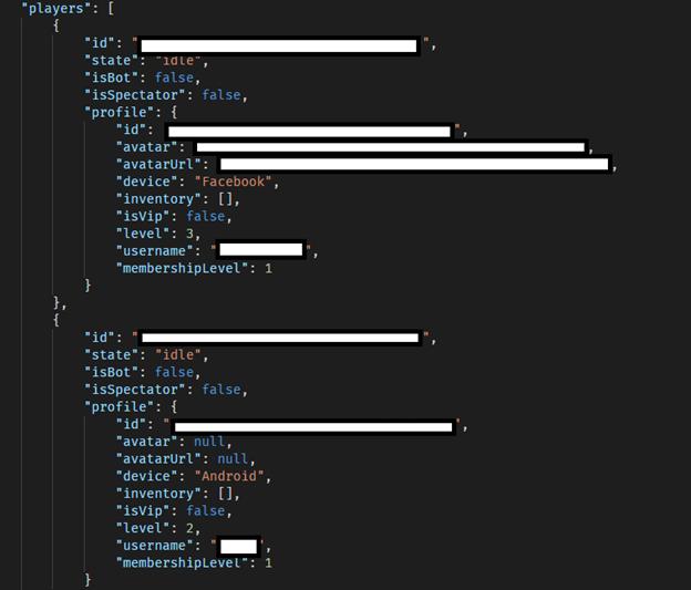 Screenshot of VIPGames data breach showing game players data