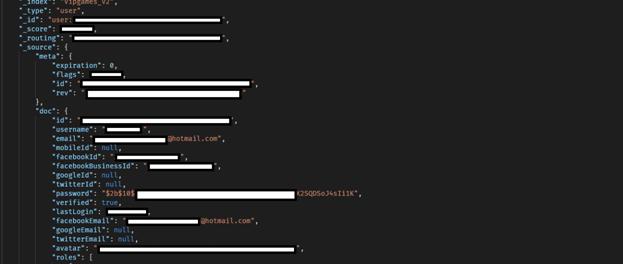 Screenshot of VIPGames data breach showing user profiles data