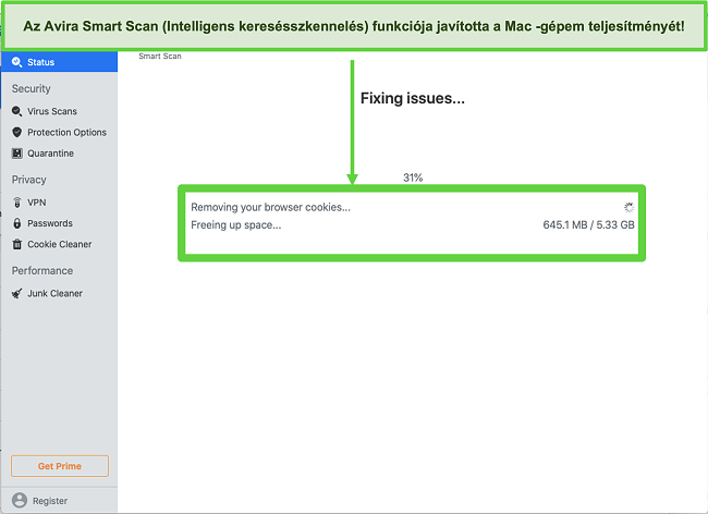 Pillanatkép a Mac gépen futó Avira Smart Scanről