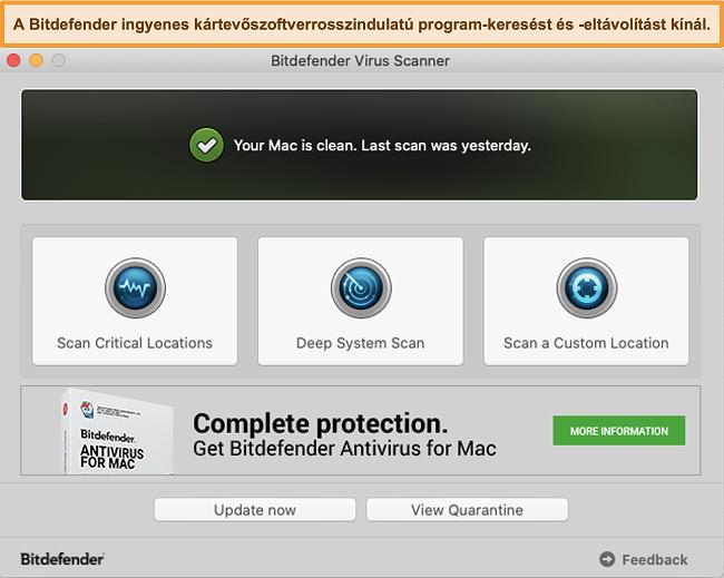 Pillanatkép a Bitdefender alkalmazás irányítópultjáról Mac-en