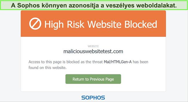 Pillanatkép arról, hogy a Sophos Web Protection blokkolja a magas kockázatú webhelyet