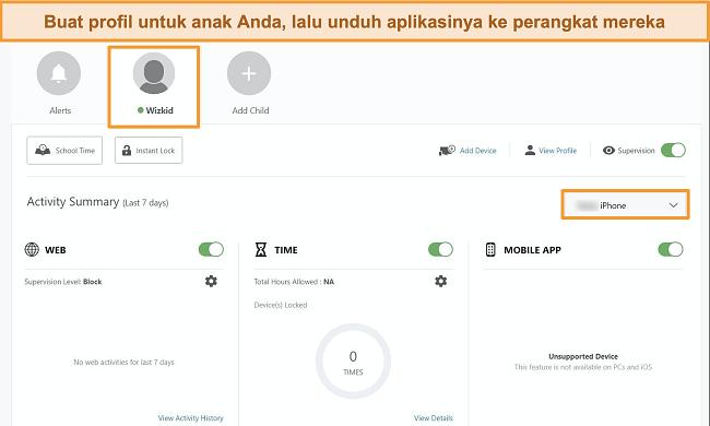 Tangkapan layar dari Norton Family Portal dengan profil anak yang dibuat.