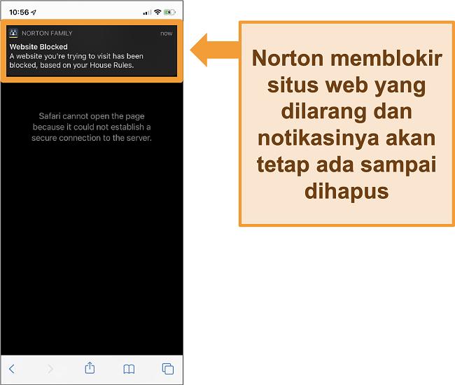 Tangkapan layar antivirus Norton dengan kontrol orang tua yang diaktifkan di iPhone dan memblokir situs web terlarang