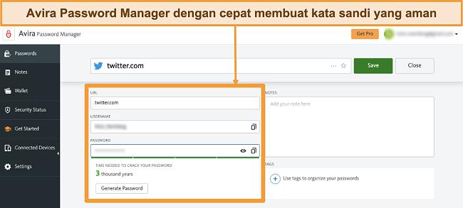 Tangkapan layar dari Avira Password Manager yang dijalankan di Mac