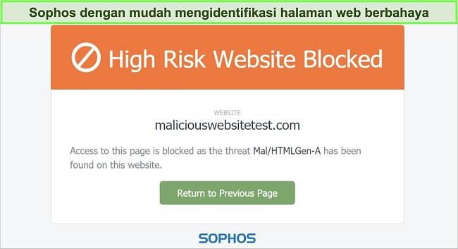 Tangkapan layar dari Perlindungan Web Sophos yang memblokir situs web berisiko tinggi