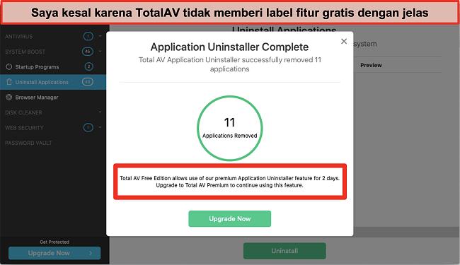 Tangkapan layar dari percobaan upsell TotalAV Application Uninstaller