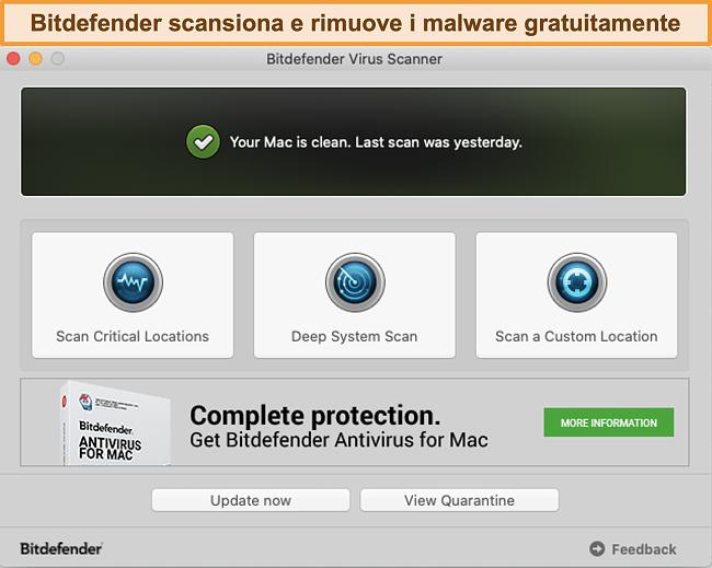 Screenshot della dashboard dell'app Bitdefender su Mac