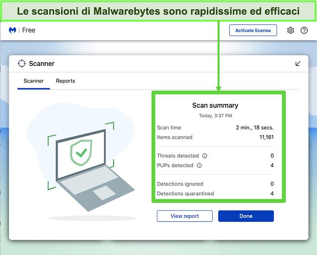 Screenshot di Malwarebytes che esegue una scansione delle minacce su Mac