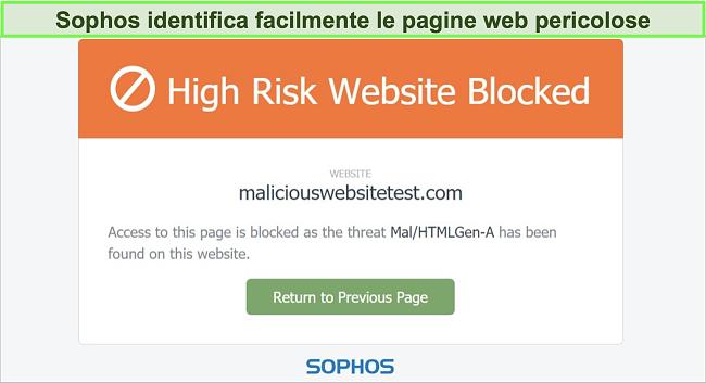 Screenshot di Sophos Web Protection che blocca un sito Web ad alto rischio