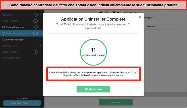 Screenshot del tentativo di upsell di TotalAV Application Uninstaller