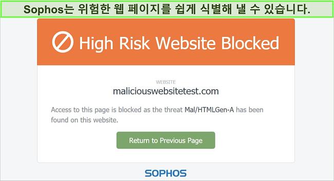 고위험 웹 사이트를 차단하는 Sophos Web Protection 스크린 샷