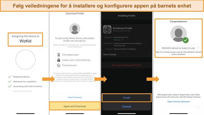 Skjermbilder av installasjonsprosessen for Norton Family på iPhone