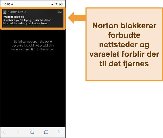 Skjermbilde av Norton antivirus med foreldrekontroll aktivert på iPhone og blokkerer forbudte nettsteder