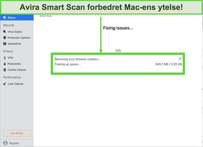 Skjermbilde av Avira Smart Scan som kjører på Mac