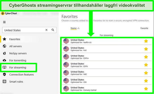 Screenshot van het gespecialiseerde streaming-servermenu van CyberGhost