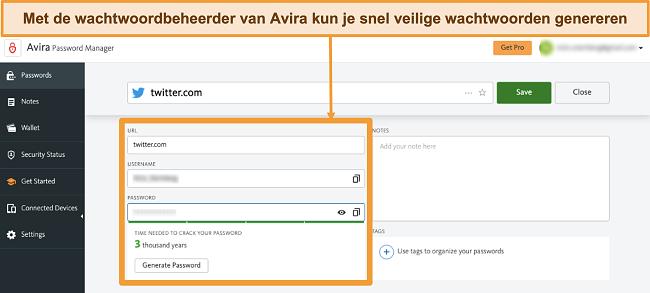 Snimka zaslona Avira Password Manager koji se izvodi na Macu