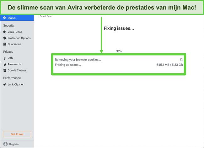 Snimka zaslona Avira Smart Scan koji se izvodi na Macu