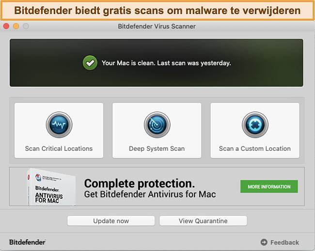 Snimak zaslona nadzorne ploče aplikacije Bitdefender na Macu