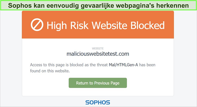 Snimak zaslona Sophos Web Protection koji blokira web lokaciju s visokim rizikom