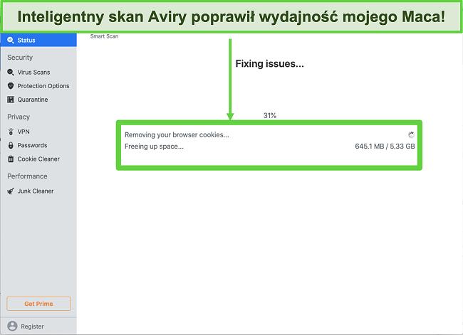 Zrzut ekranu programu Avira Smart Scan działającego na komputerze Mac