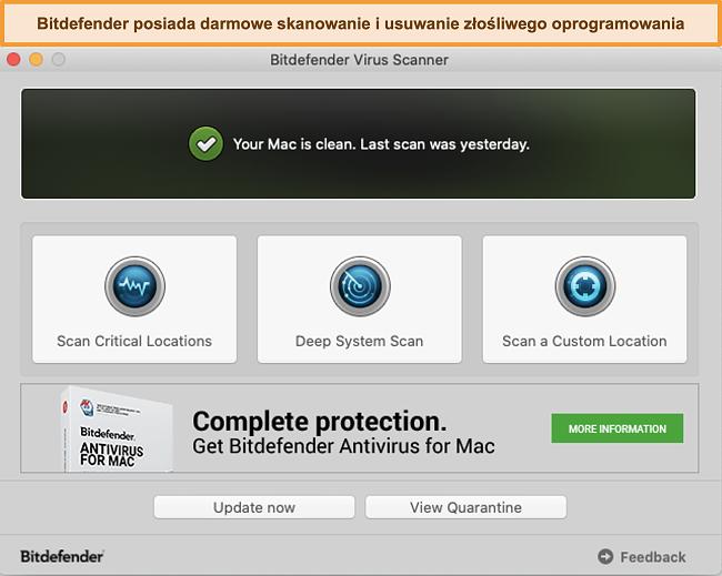 Zrzut ekranu pulpitu nawigacyjnego aplikacji Bitdefender na komputerze Mac