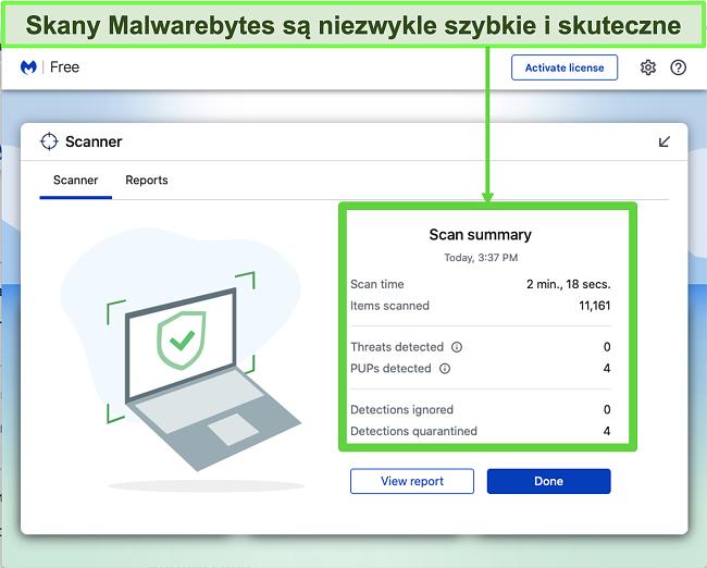 Zrzut ekranu przedstawiający Malwarebytes wykonujący skanowanie w poszukiwaniu zagrożeń na komputerze Mac