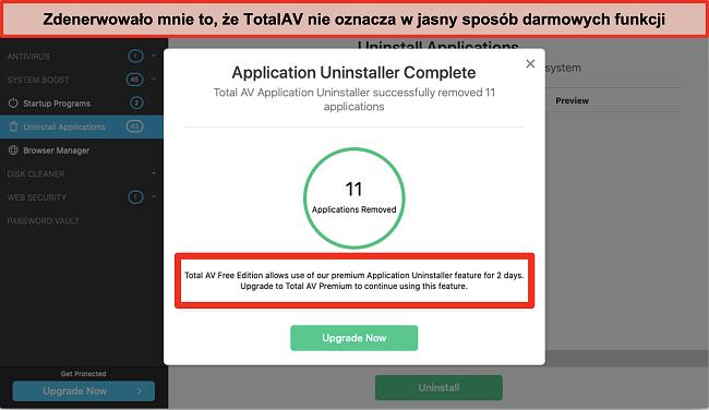 Zrzut ekranu z próbą sprzedaży produktu TotalAV Application Uninstaller