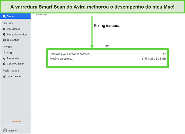 Captura de tela do Avira Smart Scan em execução no Mac