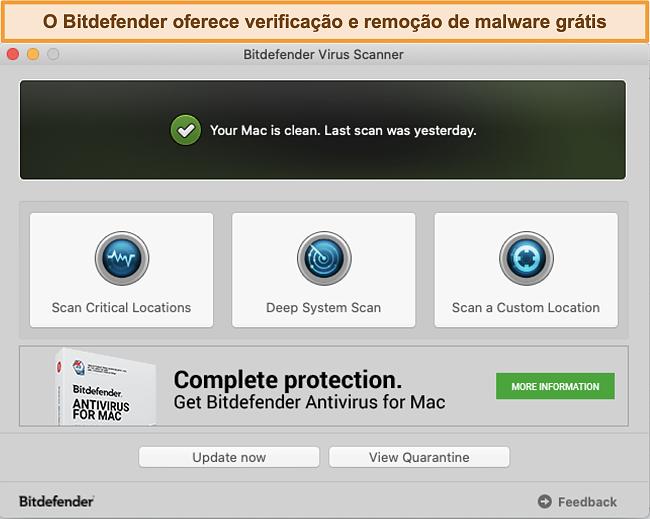 Captura de tela do painel do aplicativo Bitdefender no Mac