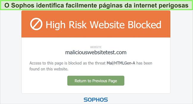 Captura de tela do Sophos Web Protection bloqueando um site de alto risco