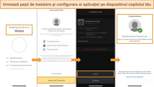 Capturi de ecran ale procesului de configurare pentru Norton Family pe iPhone