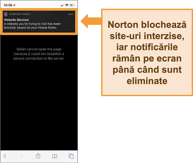 Captură de ecran a antivirusului Norton cu controale parentale activate pe iPhone și blocarea site-urilor interzise