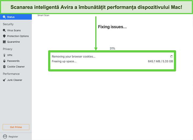 Captură de ecran a scanării inteligente Avira care rulează pe Mac