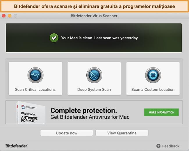 Captură de ecran a tabloului de bord al aplicației Bitdefender pe Mac