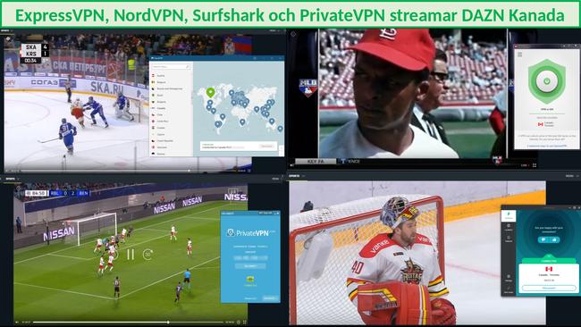 Skärmdump av VPN som arbetar med DAZN Canada