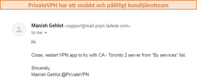 Skärmdump av PrivateVPN-kundsupport som rekommenderar servrar