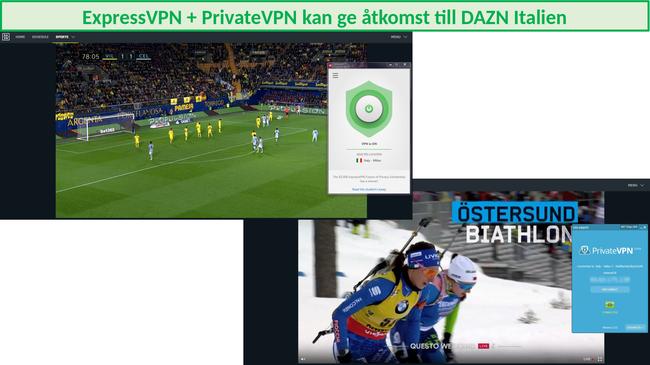 Skärmdump av ExpressVPN och PrivateVPN som framgångsrikt strömmar DAZN