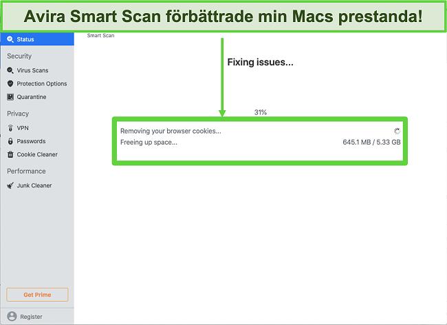 Skärmdump av Avira Smart Scan som körs på Mac