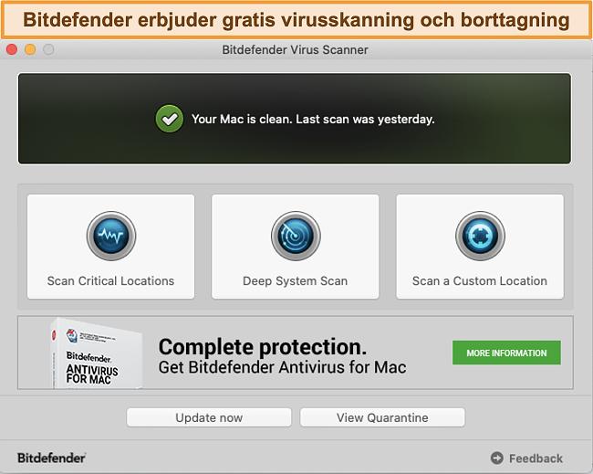 Skärmdump av Bitdefender-appens instrumentpanel på Mac