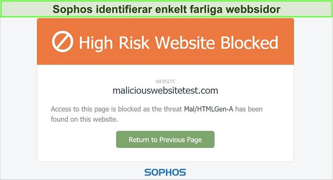 Skärmdump av Sophos Web Protection som blockerar en högriskwebbplats