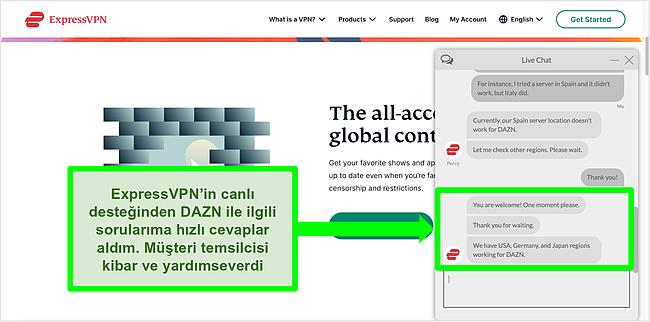 ExpressVPN canlı sohbet aracısıyla bir etkileşimin ekran görüntüsü