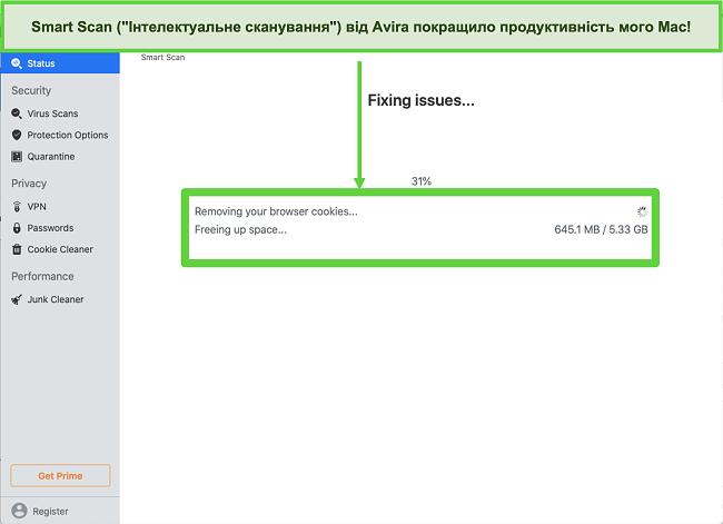 Знімок екрана Avira Smart Scan, запущеного на Mac