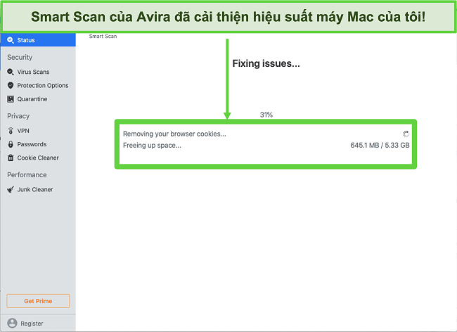 Ảnh chụp màn hình Avira Smart Scan chạy trên Mac