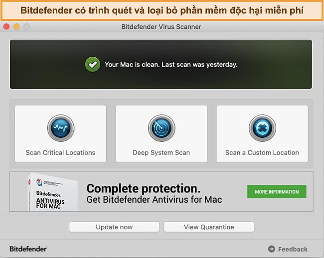 Ảnh chụp màn hình trang tổng quan ứng dụng Bitdefender trên Mac