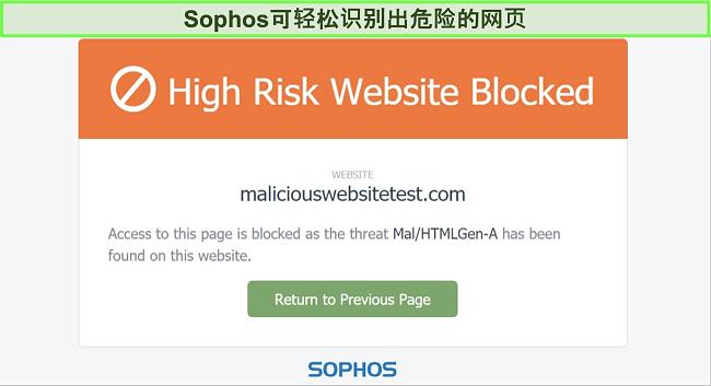 Sophos Web Protection阻止高风险网站的屏幕截图