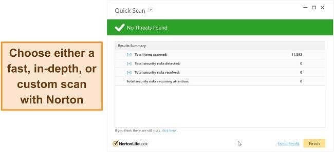 Norton's anti-malware scanning options.