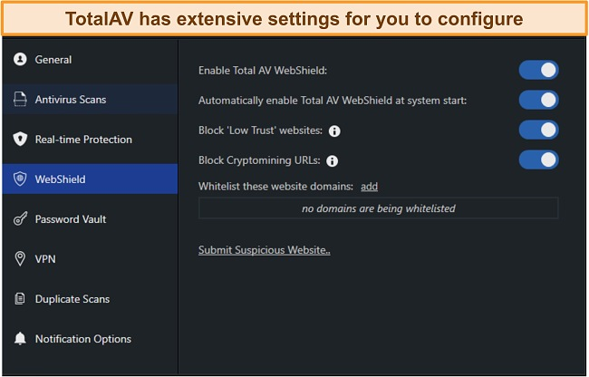 Screenshot of TotalAV's settings menus.